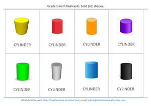 Grade 1 math flash cards: Solid 3d shapes