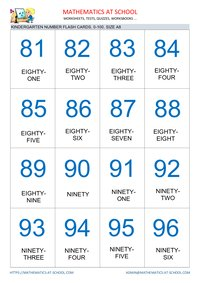 Kindergarten math flash cards: numbers of A8 size
