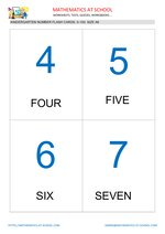 Kindergarten math flash cards: numbers of A6 size