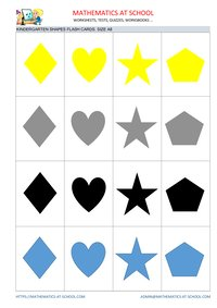 Kindergarten math flash cards: shapes A8 size no names circle