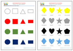 Kindergarten shapes flash cards, free printable pdf and jpg.
