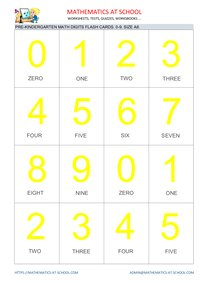 Pre-k math flash cards: numbers A8 size