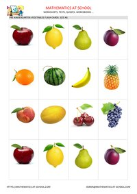 Fruits flash cards, A8 size