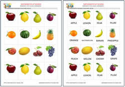 Pre-k fruits flash cards, free printable pdf and jpg.