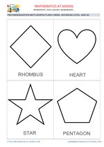 Pre-k math flash cards: shapes A6 size, advanced level names