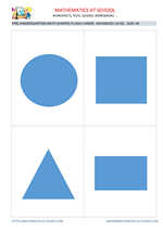 Pre-k math flash cards: shapes A6 size, advanced level no names