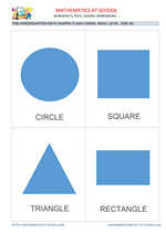 Pre-k math flash cards: shapes A6 size, basic level no names