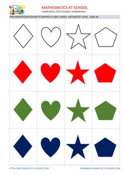 Pre-k math flash cards: shapes A8 size, advanced level no names