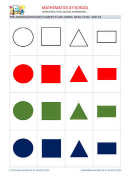 Pre-k math flash cards: shapes A8 size, basic level no names circle
