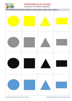 Pre-k math flash cards: shapes A8 size, basic level no names square