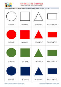Pre-k math flash cards: shapes A8 size, basic level no names triangle