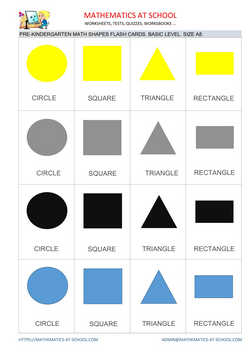 Pre-k math flash cards: shapes A8 size, basic level no names rectangle
