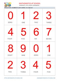 Preschool math flash cards: numbers A8 size