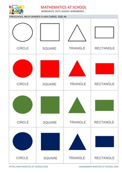 Preschool math flash cards: shapes A8 size no names circle