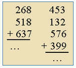Adding three 3-digit and four 3-digit numbers in columns.
