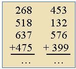 Adding four 3-digit numbers in columns.