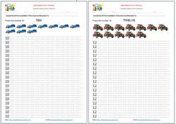 Kindergarten worksheets: Number tracing. Examples