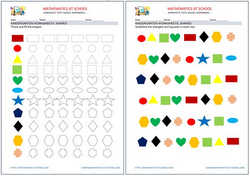 Kindergarten worksheets: shapes (circle, rectangle, triangle, square). Free printable pdf.