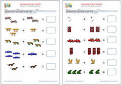 Kindergarten worksheets: addition with pictures.. Examples.