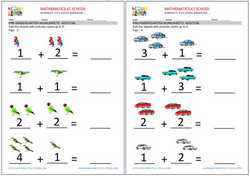 Pre-kindergarten addition worksheets.  Free printable pdf.