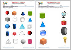 Pre-kindergarten math worksheets: shapes (name the solid shapes: cubes, cones, spheres, cylinders). Free printable pdf.