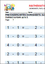 Pre-kindergarten subtraction worksheets. Example.