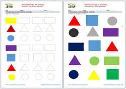 Preschool worksheets: shapes (circle, rectangle, triangle, square). Free printable pdf.