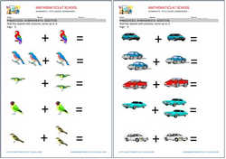 Preschool addition worksheets: adding with pictures up to 3.
