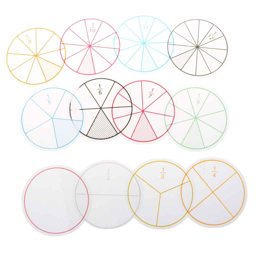 12pcs Plastic Numbered Fractions Circles Math Chips Mathematics Number Toy Math Toys , picture 1