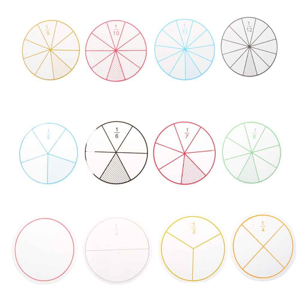 12pcs Plastic Numbered Fractions Circles Math Chips Mathematics Number Toy Math Toys , picture 2
