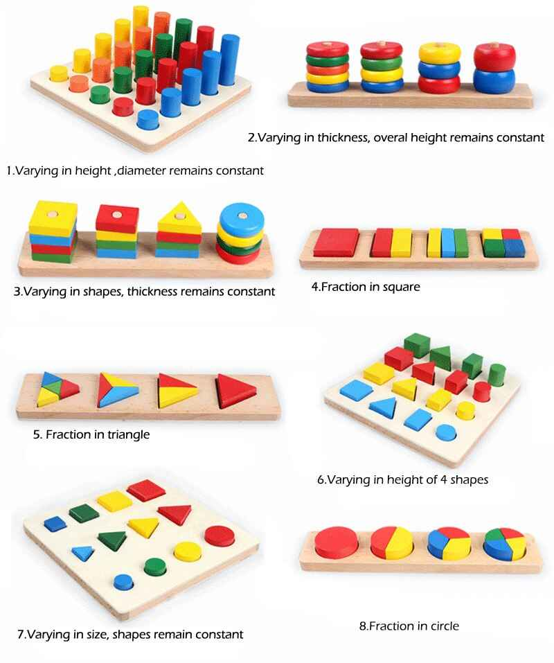 8 pcs Montessori Geometry Shapes,Knobless Cylinders, Fraction,Stacking Sorting Board-Montessori Materials Wooden Educational Toy , picture 1