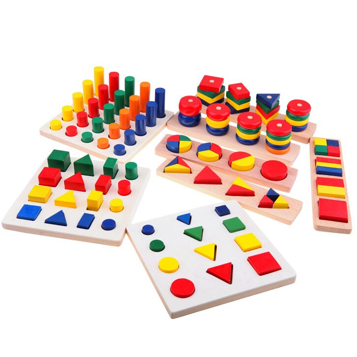 8 pcs Montessori Geometry Shapes,Knobless Cylinders, Fraction,Stacking Sorting Board-Montessori Materials Wooden Educational Toy , picture 4