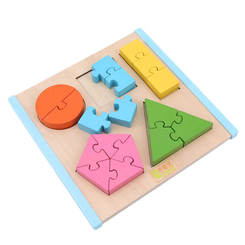 Shape Splice Baby Early Learning Wood Mathematical Development Intelligence Fraction Board Kids Wooden Education Puzzle Toy , picture 1