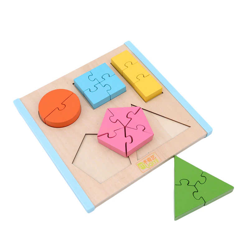 Shape Splice Baby Early Learning Wood Mathematical Development Intelligence Fraction Board Kids Wooden Education Puzzle Toy , picture 2