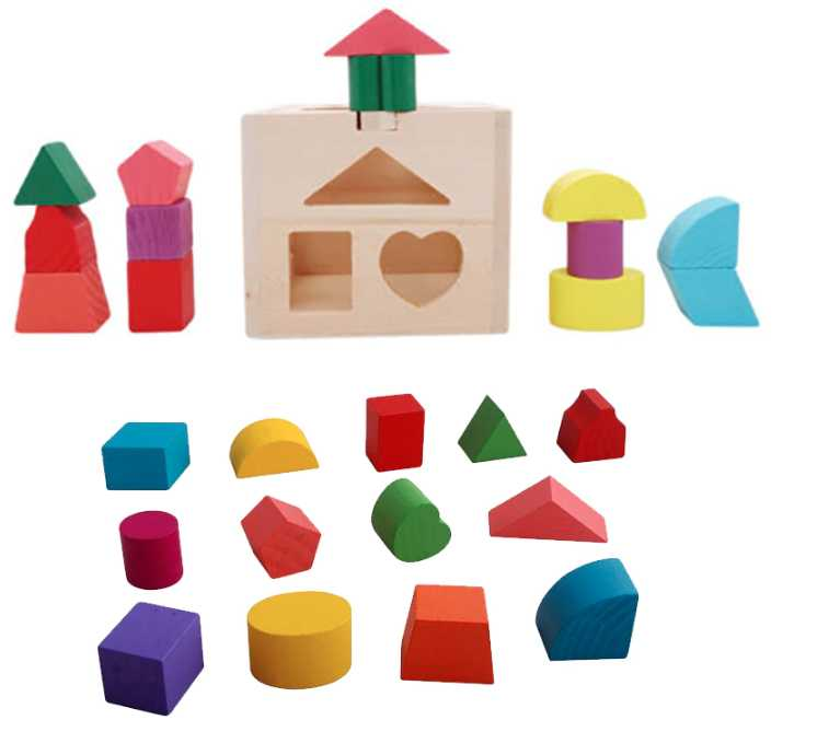 13 Holes Intelligence Box Wooden Shape Sorter Baby Cognitive and Matching Building Blocks Kids Children Early Eductional Toys , picture 1
