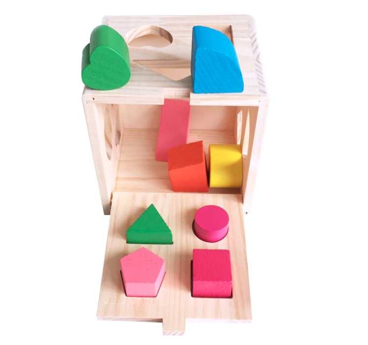 13 Holes Intelligence Box Wooden Shape Sorter Baby Cognitive and Matching Building Blocks Kids Children Early Eductional Toys , picture 8