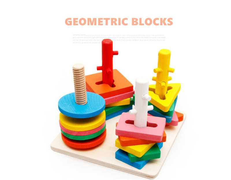 Baby 5 colors 4 pillars&geometric Shapes Sorting Nesting Stack Toy Learning Geometry Puzzle Educational Toys sorter For Childrenpicture 2