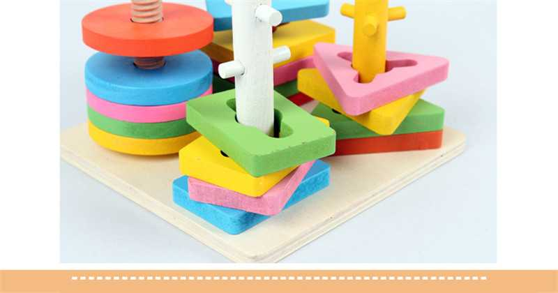 Baby 5 colors 4 pillars&geometric Shapes Sorting Nesting Stack Toy Learning Geometry Puzzle Educational Toys sorter For Childrenpicture 11