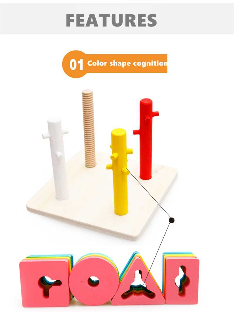 Baby 5 colors 4 pillars&geometric Shapes Sorting Nesting Stack Toy Learning Geometry Puzzle Educational Toys sorter For Childrenpicture 3