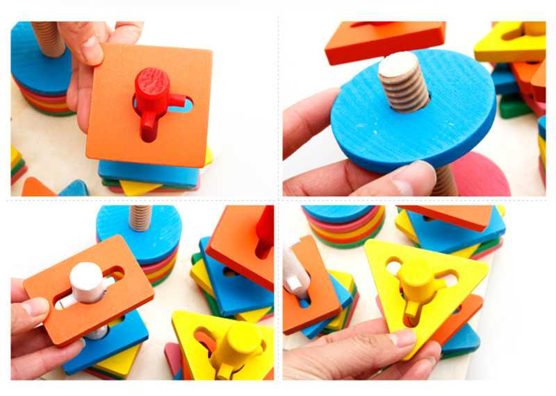 Baby 5 colors 4 pillars&geometric Shapes Sorting Nesting Stack Toy Learning Geometry Puzzle Educational Toys sorter For Childrenpicture 4
