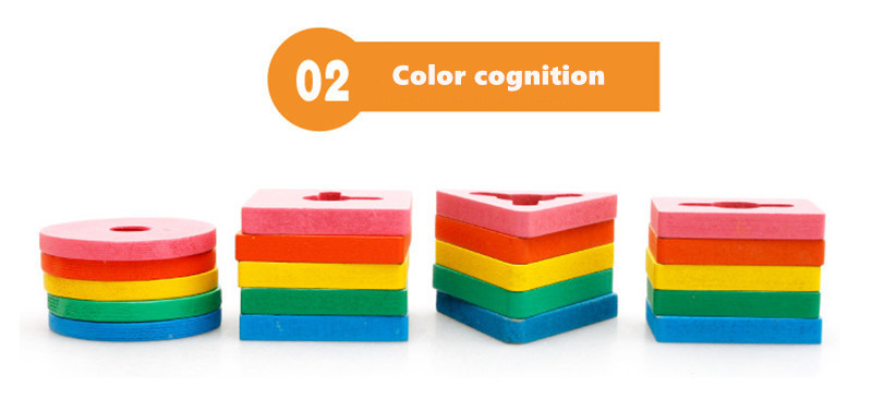 Baby 5 colors 4 pillars&geometric Shapes Sorting Nesting Stack Toy Learning Geometry Puzzle Educational Toys sorter For Childrenpicture 5