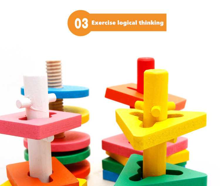 Baby 5 colors 4 pillars&geometric Shapes Sorting Nesting Stack Toy Learning Geometry Puzzle Educational Toys sorter For Childrenpicture 6