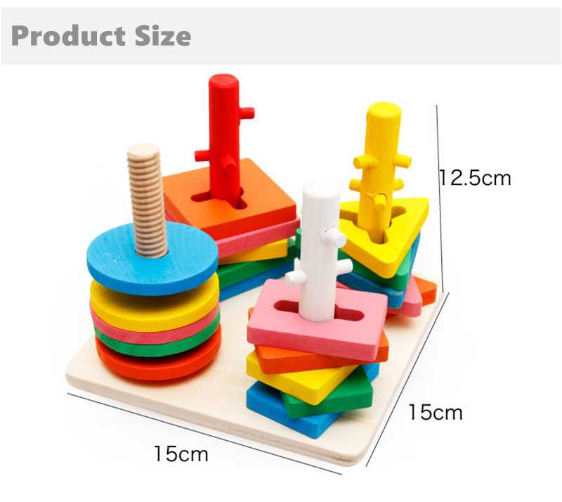 Baby 5 colors 4 pillars&geometric Shapes Sorting Nesting Stack Toy Learning Geometry Puzzle Educational Toys sorter For Childrenpicture 7
