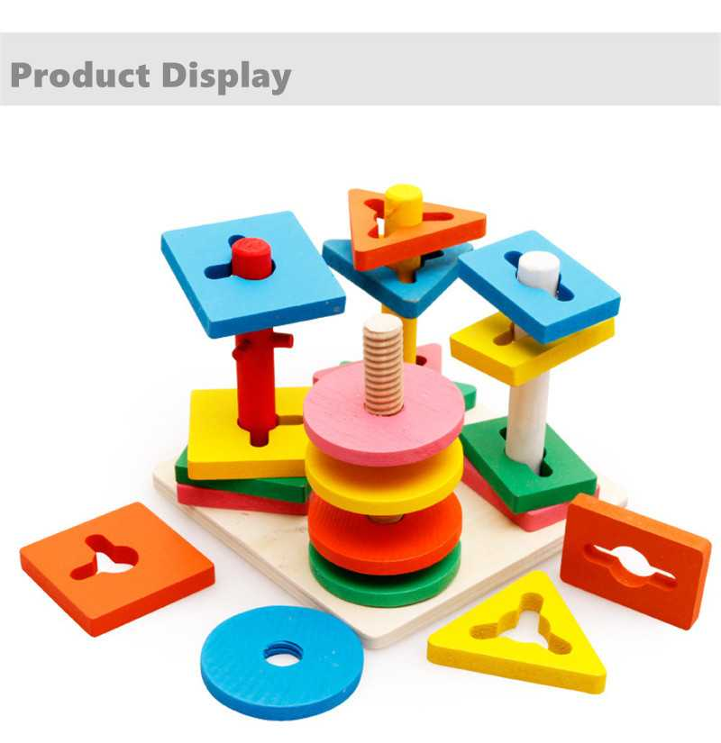 Baby 5 colors 4 pillars&geometric Shapes Sorting Nesting Stack Toy Learning Geometry Puzzle Educational Toys sorter For Childrenpicture 8