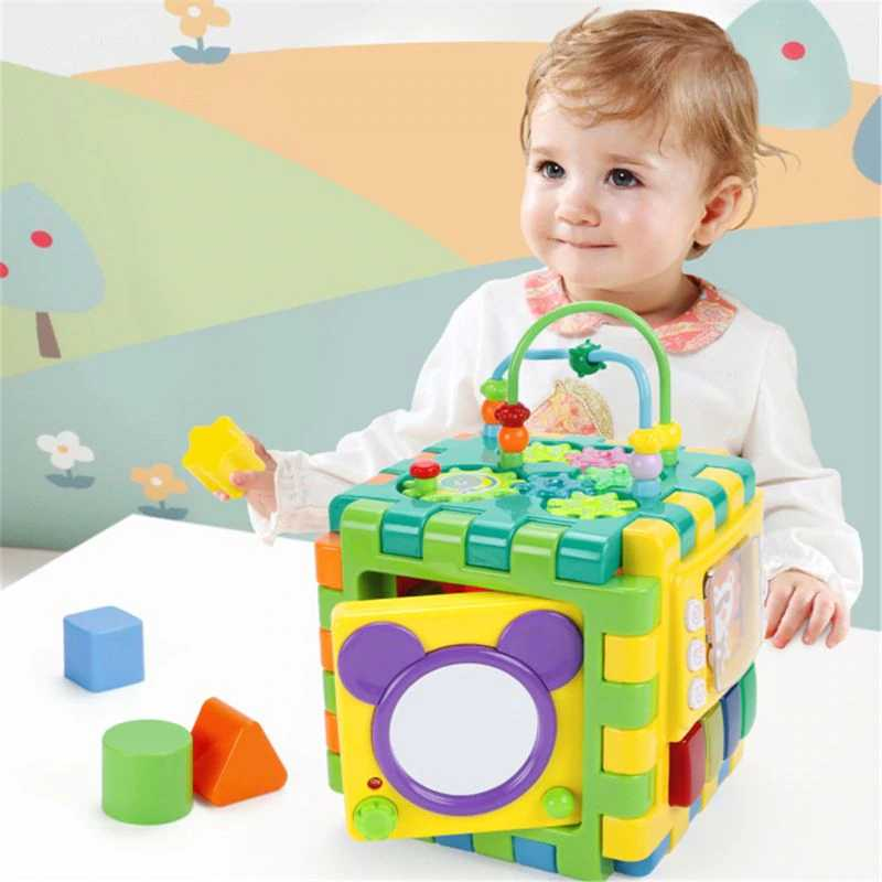Baby Activity Cube Toddler Toys 6 in 1 Shape Sorter Baby ...
