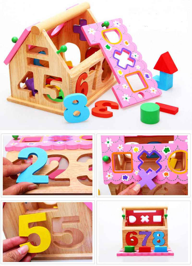 13 Holes Intelligence Box Wooden Shape Sorter Baby Cognitive and Matching Building Blocks Kids Children Early Eductional Toys , picture 3