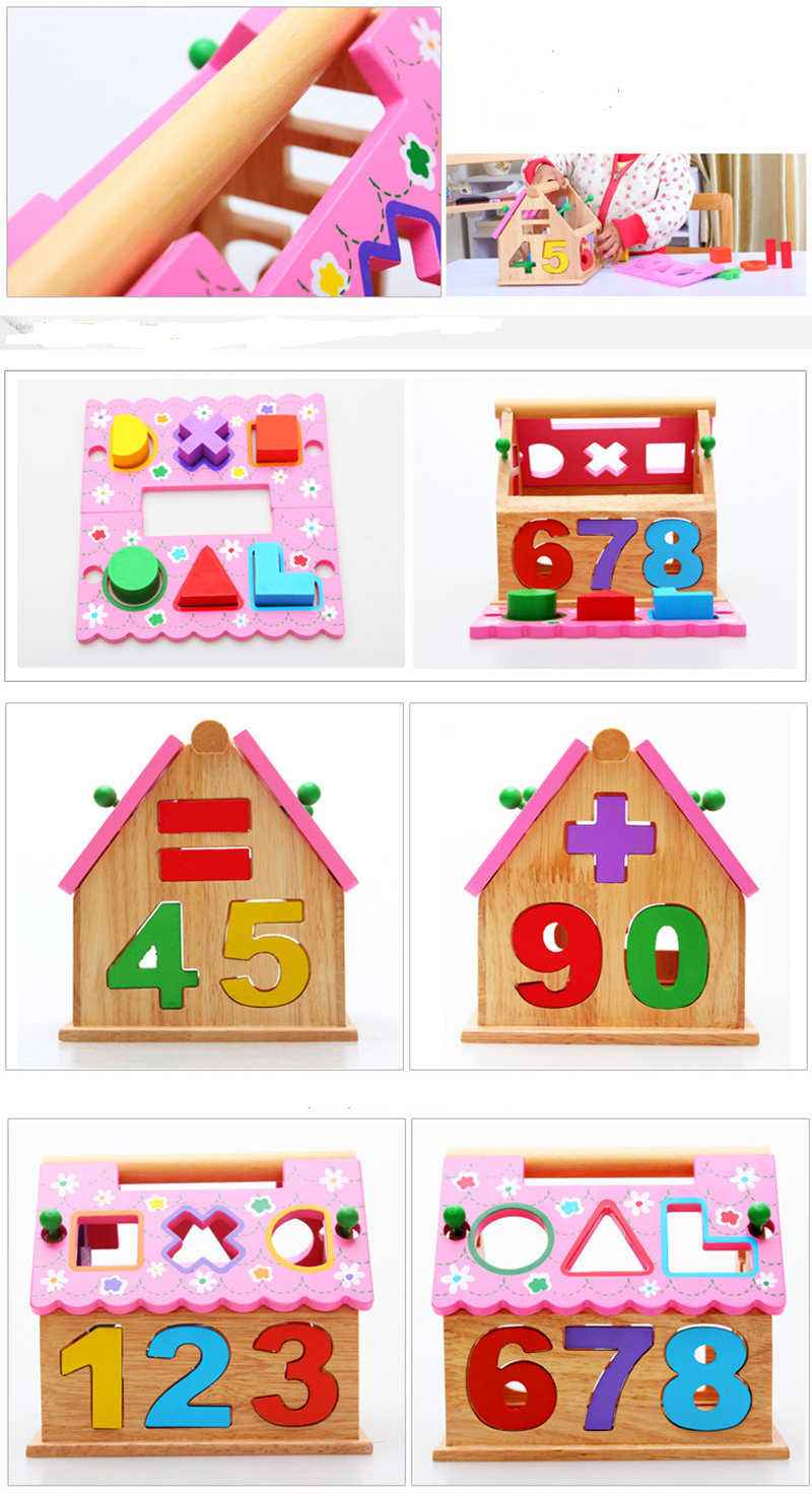13 Holes Intelligence Box Wooden Shape Sorter Baby Cognitive and Matching Building Blocks Kids Children Early Eductional Toys , picture 4