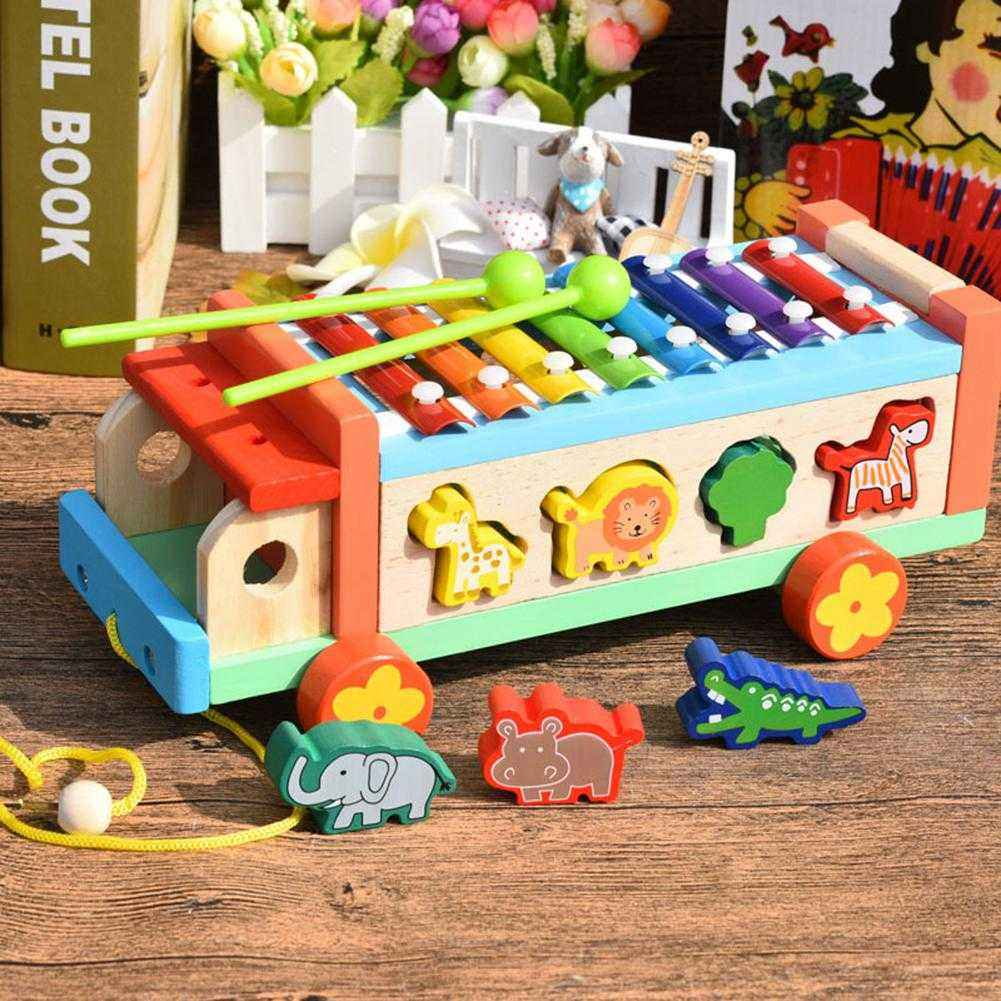Children 8 Keys Wooden Pull Bus with Animal Shape Sorter Educational Cartoon Hand Knocked Piano Toys for Kidspicture 1