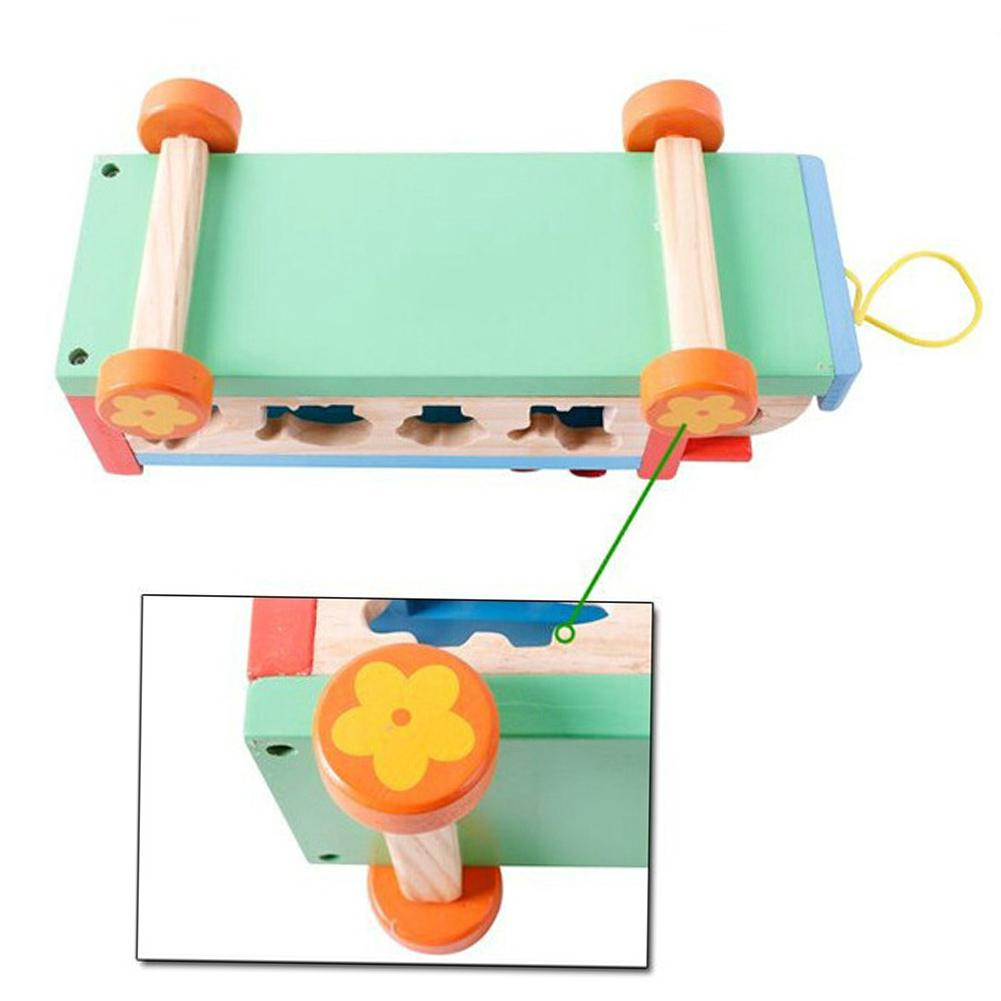 Children 8 Keys Wooden Pull Bus with Animal Shape Sorter Educational Cartoon Hand Knocked Piano Toys for Kidspicture 4