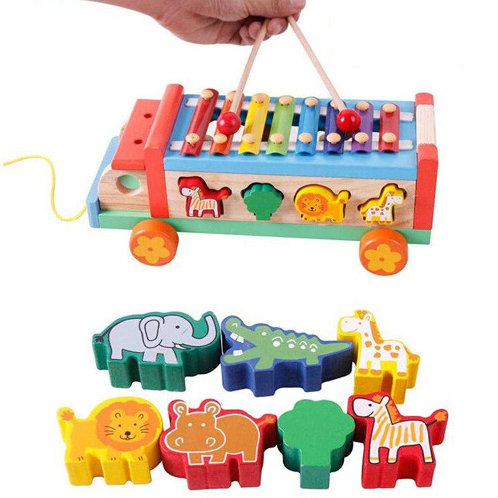 Children 8 Keys Wooden Pull Bus with Animal Shape Sorter Educational Cartoon Hand Knocked Piano Toys for Kidspicture 5